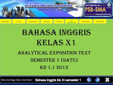 ANALYTICAL EXPOSITION TEXT SEMESTER 1 (SATU) KD