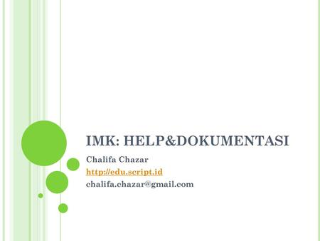IMK: HELP&DOKUMENTASI