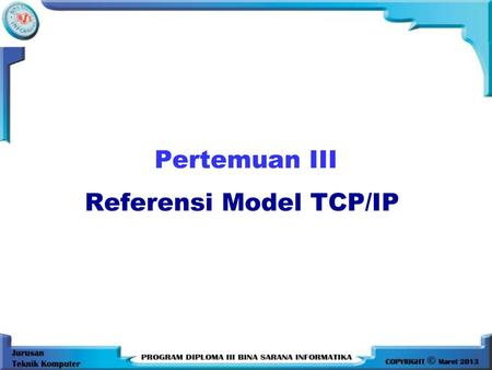Referensi Model TCP/IP