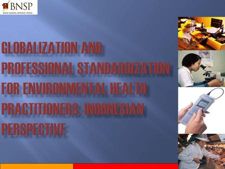 GLOBALIZATION AND PROFESSIONAL STANDARDIZATION FOR ENVIRONMENTAL HEALTH PRACTITIONERS: INDONESIAN PERSPECTIVE.