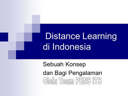 Distance Learning di Indonesia