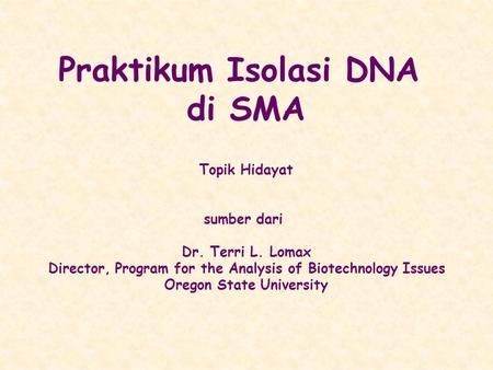 Praktikum Isolasi DNA di SMA Topik Hidayat sumber dari Dr. Terri L. Lomax Director, Program for the Analysis of Biotechnology Issues Oregon State University.