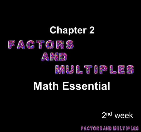 Chapter 2 Math Essential 2nd week.