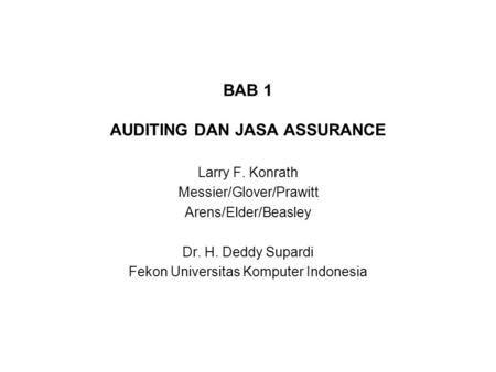 BAB 1 AUDITING DAN JASA ASSURANCE