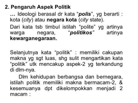 Pengaruh aspek kehidupan nasional indonesia terhadap ...