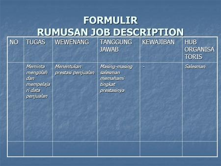 FORMULIR RUMUSAN JOB DESCRIPTION