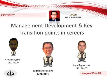 Management Development & Key Transition points in cereers CASE STUDY Management SDM– A42 DOSEN: DR. Y. HARRI JALIL Nelwin Sriyanto 122130070 Zulfri Sandra.
