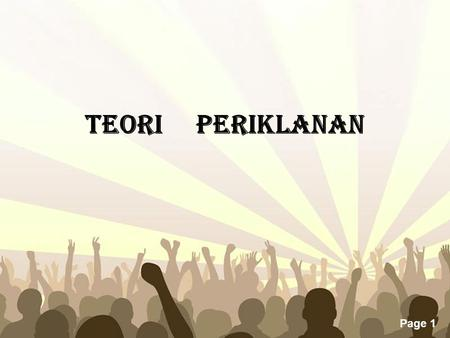 Free Powerpoint Templates Page 1 TEORI PERIKLANAN.