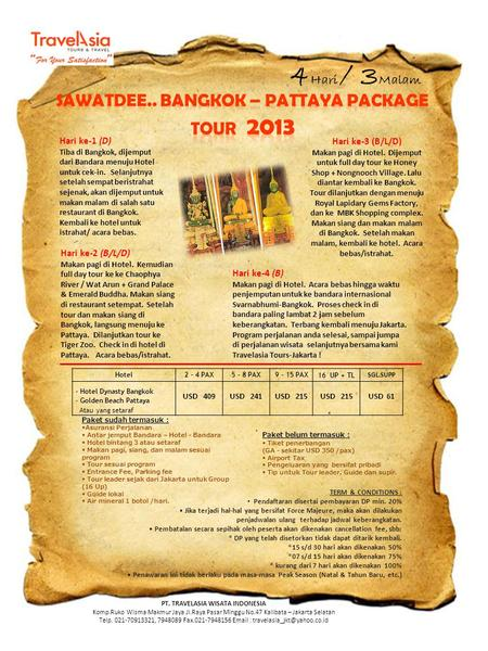 SAWATDEE.. BANGKOK – PATTAYA PACKAGE TOUR 2013