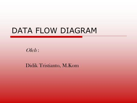 DATA FLOW DIAGRAM Oleh : Didik Tristianto, M.Kom.