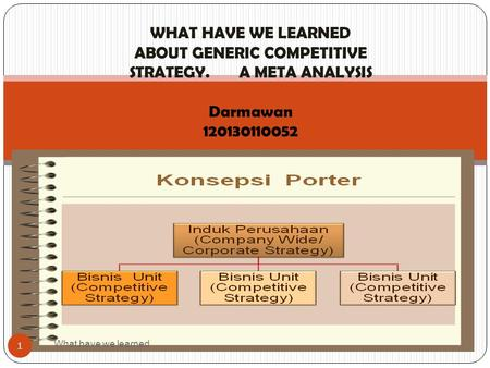 WHAT HAVE WE LEARNED ABOUT GENERIC COMPETITIVE STRATEGY. A META ANALYSIS Darmawan 120130110052 What have we learned 1.