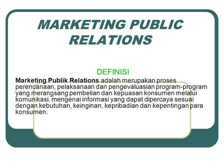MARKETING PUBLIC RELATIONS