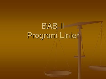 BAB II Program Linier.