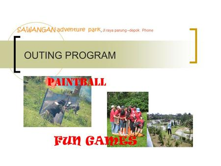 PAINTBALL FUN GAMES OUTING PROGRAM