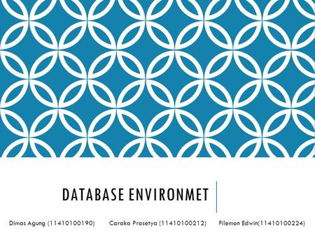 Database Environmet Dimas Agung (11410100190)	 Caraka Prasetya (11410100212) Filemon Edwin(11410100224)