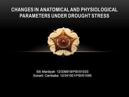 CHANGES IN ANATOMICAL AND PHYSIOLOGICAL PARAMETERS UNDER DROUGHT STRESS Siti Mardiyah 12/336919/PBI/01033 Sunarti Cambaba 12/341501/PBI/01095.