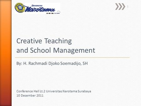 1 Creative Teaching and School Management Conference Hall Lt.2 Universitas Narotama Surabaya 10 Desember 2011 By: H. Rachmadi Djoko Soemadijo, SH.