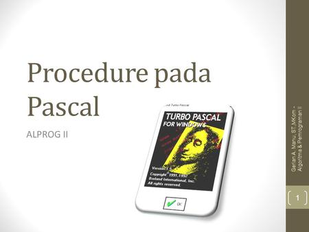 Procedure pada Pascal ALPROG II