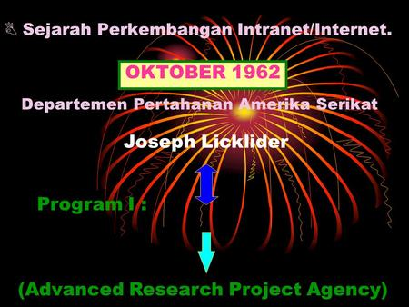  Sejarah Perkembangan Intranet/Internet. OKTOBER 1962 ARPA (Advanced Research Project Agency) Program I : Departemen Pertahanan Amerika Serikat Joseph.