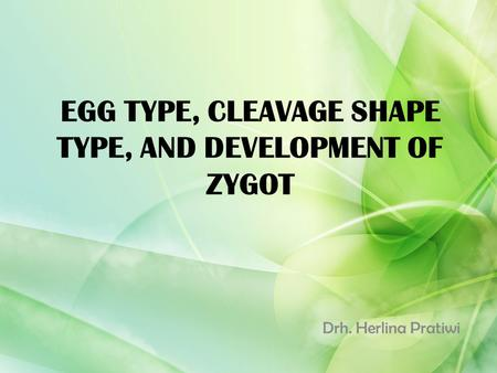 EGG TYPE, CLEAVAGE SHAPE TYPE, AND DEVELOPMENT OF ZYGOT