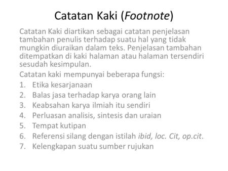 Catatan Kaki (Footnote)