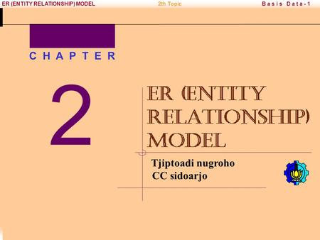 Copyright © 2005 PENS-ITS B a s i s D a t a - 1ER (ENTITY RELATIONSHIP) MODEL2th Topic Tjiptoadi nugroho CC sidoarjo 2 C H A P T E R.