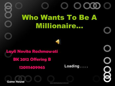 Who Wants To Be A Millionaire… Game House Layli Novita Rachmawati BK 2012 Offering B 120111409965 Loading....