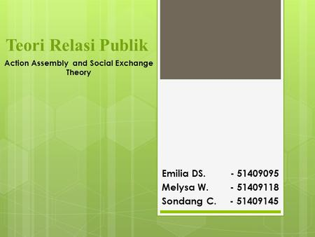 Teori Relasi Publik Emilia DS. - 51409095 Melysa W. - 51409118 Sondang C. - 51409145 Action Assembly and Social Exchange Theory.