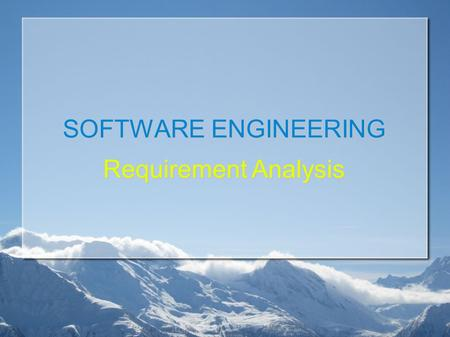 SOFTWARE ENGINEERING Requirement Analysis. Last Week Scope Functional  Function  Data Non Functional  Performance  Limitation  Avalaibility.