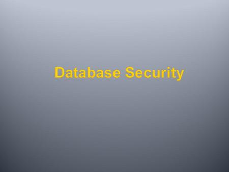 Database Security.