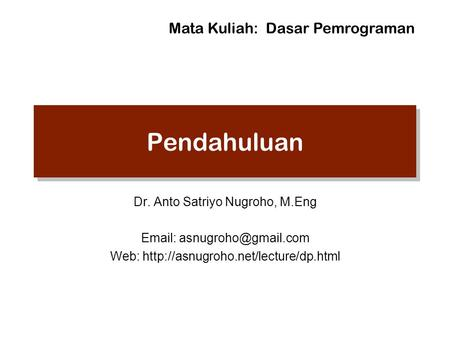Doubly Linked List Dr Anto Satriyo Nugroho M Eng Web Ppt Download