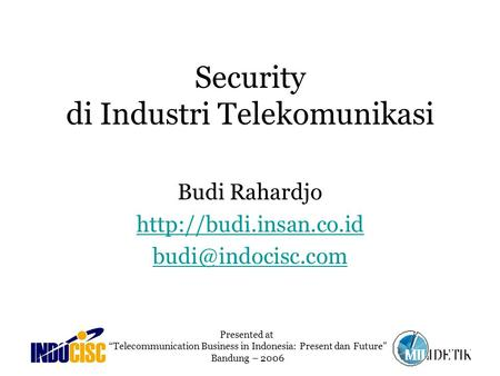 Security di Industri Telekomunikasi