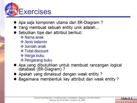 Slide 3-1 Elmasri and Navathe, Fundamentals of Database Systems, Fourth Edition Revised by IB & SAM, Fasilkom UI, 2005 Exercises Apa saja komponen utama.