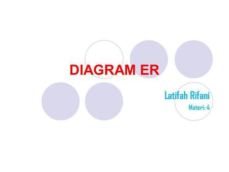 DIAGRAM ER Latifah Rifani Materi: 4. DIAGRAM ER Diagram E-R (Entity-Relationship) biasa digunakan dalam tahap analisis perancangan database. Diagram E-R.
