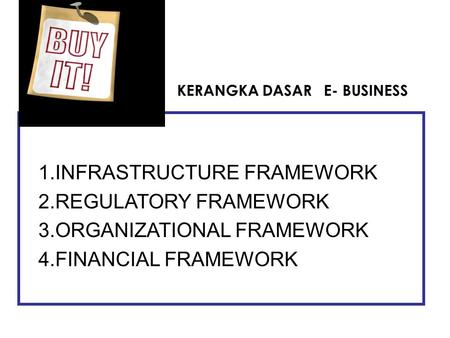 1.INFRASTRUCTURE FRAMEWORK 2.REGULATORY FRAMEWORK 3.ORGANIZATIONAL FRAMEWORK 4.FINANCIAL FRAMEWORK KERANGKA DASAR E- BUSINESS.
