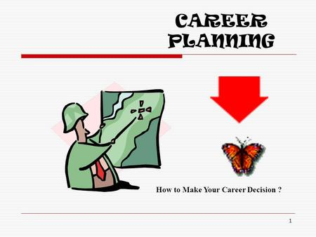 CAREER PLANNING 1 How to Make Your Career Decision ?