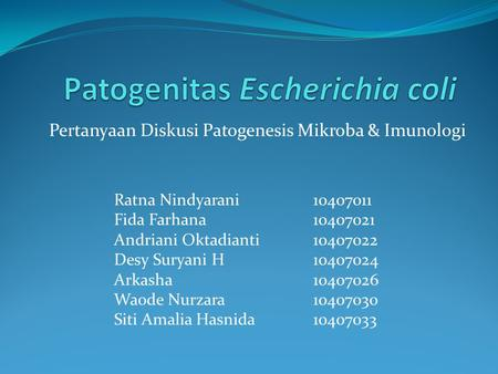 Patogenitas Escherichia coli