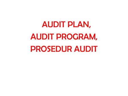 AUDIT PLAN, AUDIT PROGRAM, PROSEDUR AUDIT.