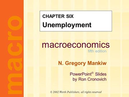 Macroeconomics fifth edition N. Gregory Mankiw PowerPoint ® Slides by Ron Cronovich macro © 2002 Worth Publishers, all rights reserved CHAPTER SIX Unemployment.