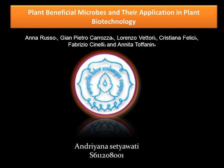 Plant Beneficial Microbes and Their Application in Plant Biotechnology Anna Russo 1, Gian Pietro Carrozza 4, Lorenzo Vettori 2, Cristiana Felici 4, Fabrizio.