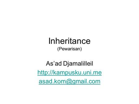 Inheritance (Pewarisan) As'ad Djamalilleil