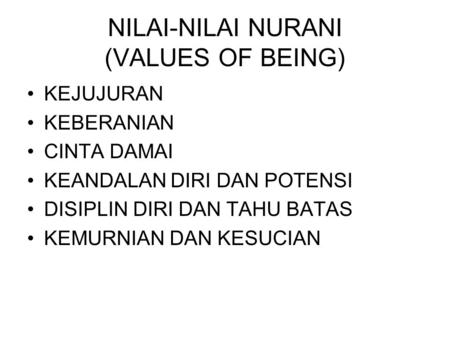 NILAI-NILAI NURANI (VALUES OF BEING)