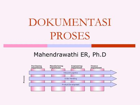 DOKUMENTASI PROSES Mahendrawathi ER, Ph.D Purchasing Department Manufacturing Department Engineering Department Finance Department Process Inbound Logistics.