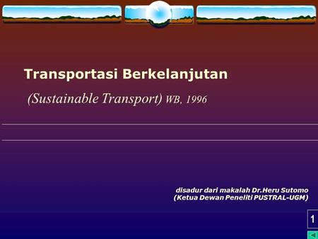 (Sustainable Transport) WB, 1996