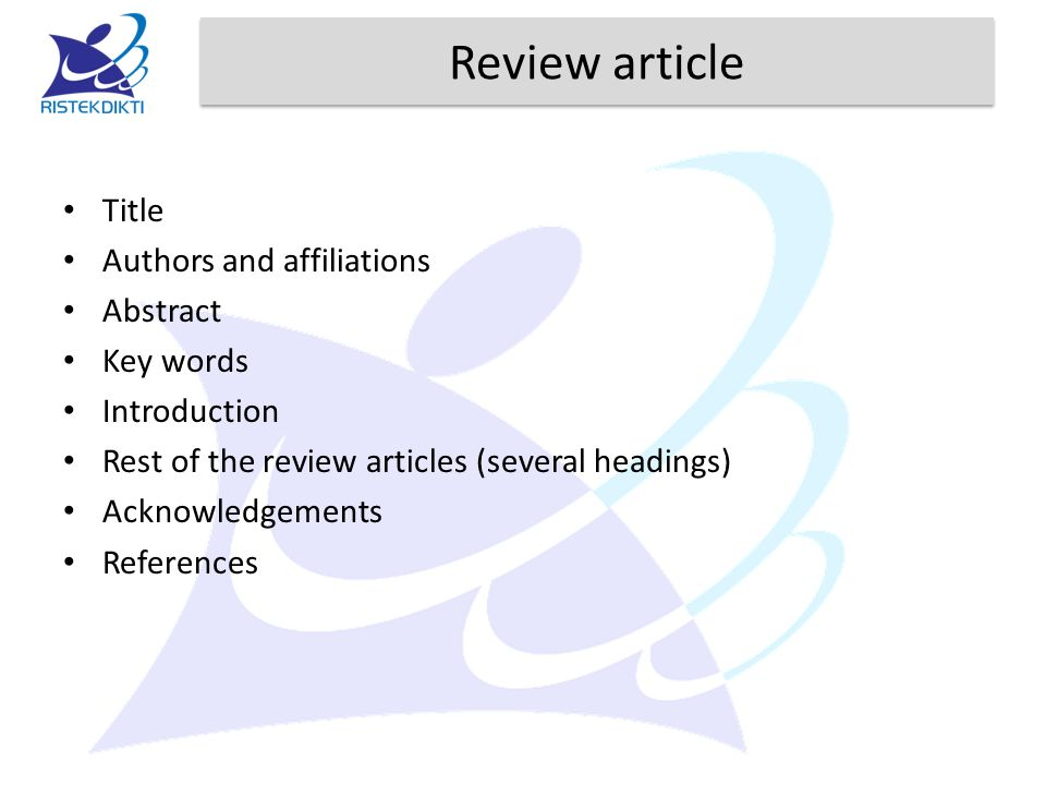 Review article Title Authors and affiliations Abstract Key words