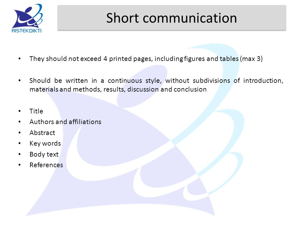 Short communication They should not exceed 4 printed pages, including figures and tables (max 3)