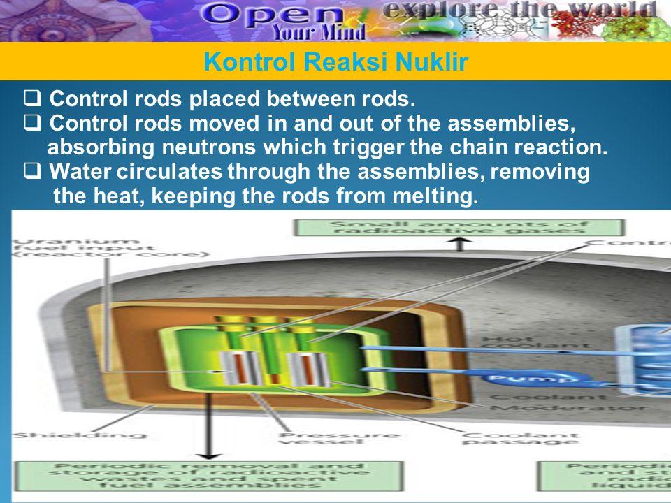 Kontrol Reaksi Nuklir Control rods placed between rods.