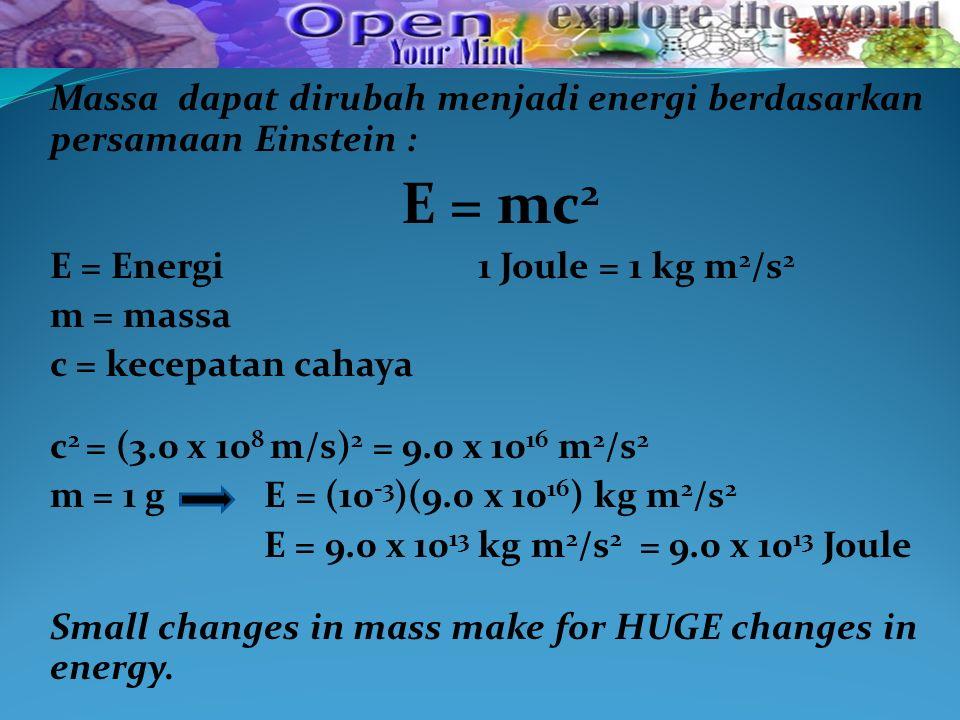 Massa dapat dirubah menjadi energi berdasarkan persamaan Einstein :