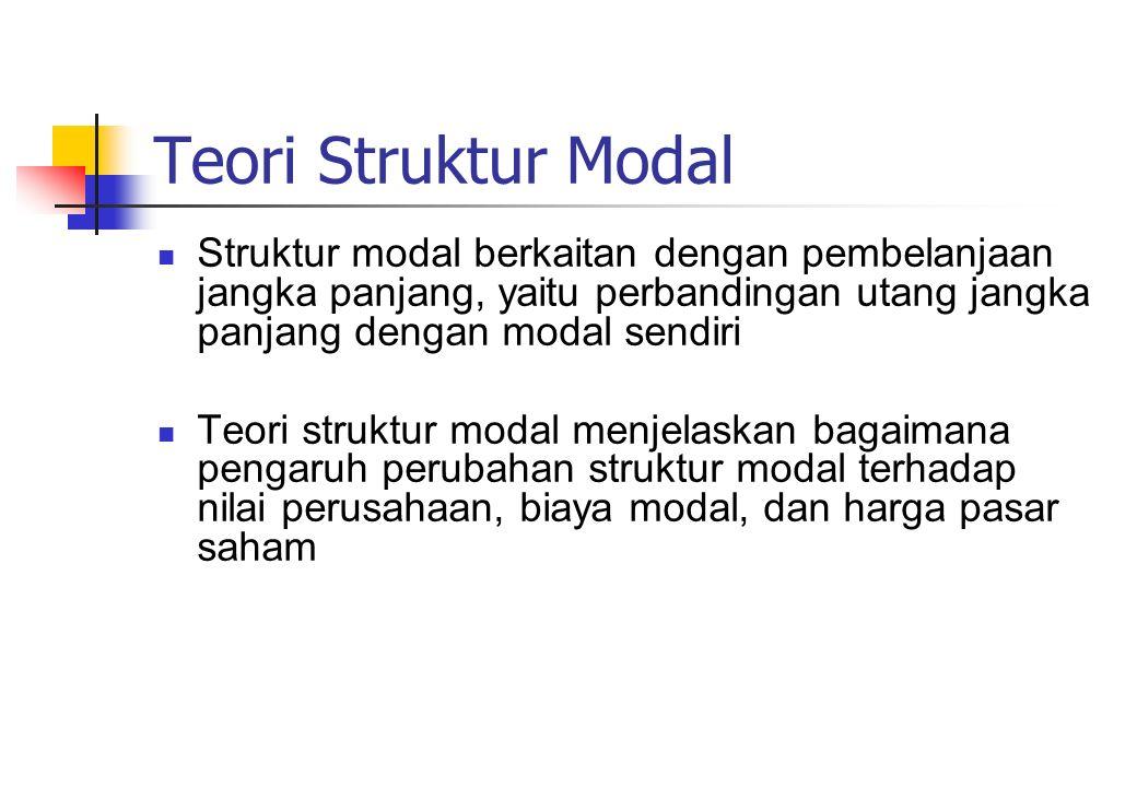 Teori Struktur Modal Struktur modal berkaitan dengan pembelanjaan jangka panjang, yaitu perbandingan utang jangka panjang dengan modal sendiri.