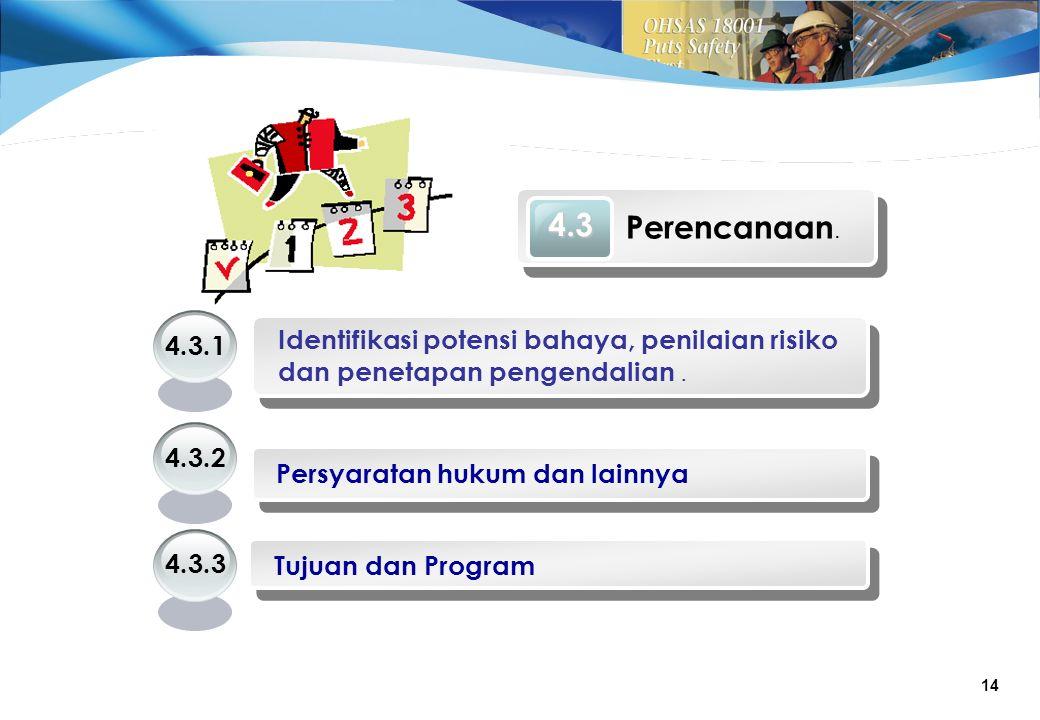 4.3 Perencanaan. 4.3.1. Identifikasi potensi bahaya, penilaian risiko dan penetapan pengendalian .